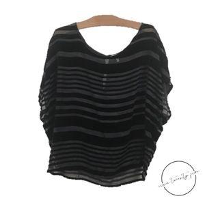 Joie Velvet Sheer Tunic Sleeveless Black M